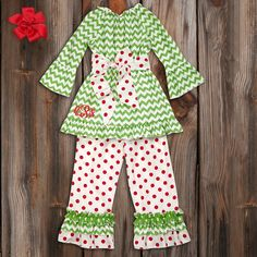Green Chevron Red Dot Sash Ruffle Pant Set @Kay Richards Richards Pape this would be a cute Christmas outfit