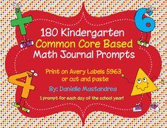 Krazee 4 Kindergarten: 180 Kindergarten Math Journal Prompts- Common Core Based (free sample of Kindergarten Math Activities, Kindergarten Teachers, Fun Math, Kindergarten Classroom, Math Resources, Teaching Math, Classroom Ideas, Teaching Ideas, Kindergarten Freebies