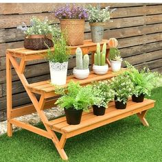 Details about Garden Wooden Step Ladder Plant Pot Rack Display Stand Outdoor Yard Decor This Pallet Garden Benches, Pallet Planters, Succulent Planters, Concrete Planters, Hanging Planters, Garden Planters, Succulents Garden, Herb Garden, Wooden Plant Stands
