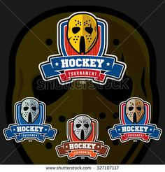 A set of logos for your team or tournament on ice hockey. Different colors of masks and shields. Gold, silver, bronze and steel gears
