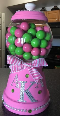 Alpha Kappa Alpha Sorority clay pot gumball machine.