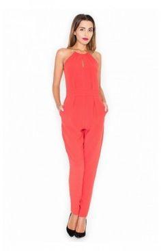 Combinaison femme sans manche, épaule nue, décolleté fendu, Model K338 Rouge Katrus 77328
