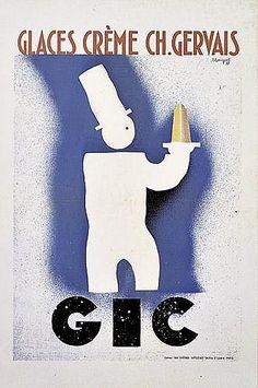 Glaces, crèmes Charles Gervais - 1930 - illustration de Charles Loupot -