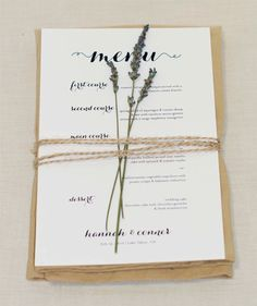 Simple wedding menus, easy to take the lavender and twine thru the wedding