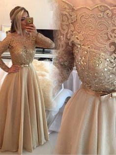 Elegant A-Linie Rundhalsausschnitt Bodenlang Champagner Ball/Abendkleid mit langen Ärmeln