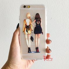 Clear fashion iPhone Case featuring BFF fashion illustration inspired by Blair and Serena from Gossip girl, reproduced from original watercolor art. Sturdy, protective cover helps keep your iPhone saf