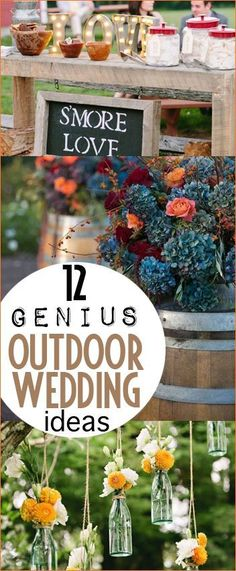 Genius Outdoor Wedding Ideas. Clever ideas to hosting an outdoor wedding. Beautiful spring and summer wedding decorations and flower displays. Wedding hacks for your outdoor wedding.