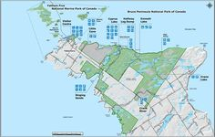 Map Bruce Peninsula National Park and Fathom Five National Marine Park Parc National, National Parks, Tobermory Ontario, Parcs Canada, Cyprus, Oh The Places You'll Go, East Coast, Road Trip, Map