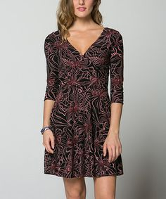 Look what I found on #zulily! Black & Pink Abstract Surplice Dress by La Scala #zulilyfinds