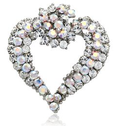 Antique Silver-tone Swarovski Element Crystals Valentine Heart Pin Brooch - CT12C5NW315 - Brooches & Pins  #jewellrix #Brooches #Pins #jewelry #fashionstyle