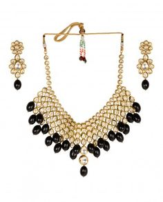 Kundan Necklace Set with Black Stone Drops