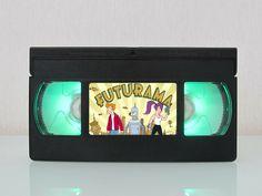 Night light Futurama vhs lamp Cinema lightbox Poster Art Print LED desk lamp Movie TV series Video Custom gift Christmas present for him!