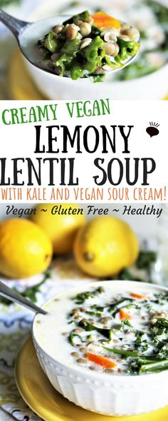 This creamy lemony vegan lentil soup with kale and topped with sour cream is the best lentil soup! The sweet savory and sour flavors are the perfect flavor combo making this healthy vegan soup delicious. Vegan gluten free clean eating and great for Best Vegetarian Recipes, Healthy Soup Recipes, Vegan Recipes Easy, Vegetable Recipes, Free Recipes, Vegan Lentil Soup, Vegan Stew, Vegan Soups, Clean Eating Soup