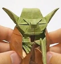 Origami Jedi Master Papercraft Yoda. Click on image for full story and video.