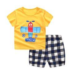 70ec91b1f80 2019 Brand New Baby Boys Summer Clothing Set Shirt+Plaid Pants Collection