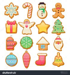 Colorful Beautiful Christmas Cookies Icons Set. Sweet Decorated New Year Backings - Gingerbread Man Star Santa Snowflake Christmas Tree Ball Sock Ant Other Holiday Symbols. Стоковая векторная иллюстрация 346817501 : Shutterstock
