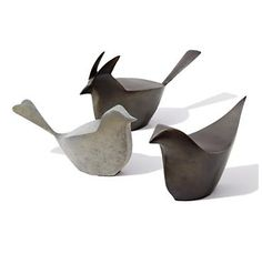 birds of a feather. Sculptural trio of iron nesters