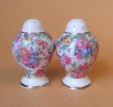 chintz china salt and pepper shakers. We Go Together Like, Salt Cellars, Salt And Pepper Set, Salt Pepper Shakers, Teacups, Tea Pots, Whimsical, Fancy, Stuffed Peppers