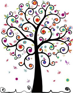 swirly tree of life with birds and color