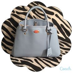 "Coach Margot Carryall Pale Blue Leather w/Strap 100% Authentic Coach : : Excellent Condition (Like New) : : Cell phone and multifunction pockets Zip-top closure, fabric lining Handle with 3 3/4"" drop plus Strap with 20"" drop for shoulder or crossbody wear 13 3/4"" (L) x 9"" (H) x 6"" (W) Coach Bags Satchels"