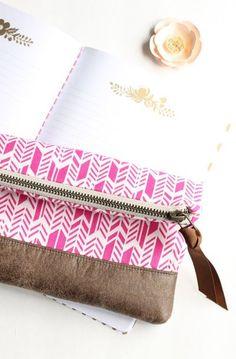 a15a7958f Zipper Clutch Purse in Pink Arrows with Vegan Leather Trim Vanity Bag,  Clutch Purse,