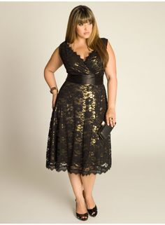Leigh Plus Size Lace Dress in Gold - Dresses by IGIGI