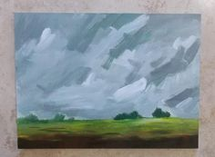 Landscape painting pamela munger grey and green clouds by pamelam