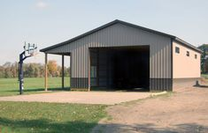 Building 85 - Farm Garage w/ Lean-To - 30x50x14 - Clay & Antique Bronze Pole Barn Cost, Pole Barns Direct, Pole Barn Shop, Metal Pole Barns, Pole Barn Garage, Pole Barn House Plans, Pole Barn Homes, Metal Barn, Garage Gym