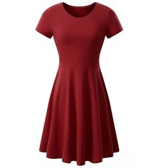 Basic Solid Round Neck Skater Dress ($31) ❤ liked on Polyvore featuring dresses, flare dresses, round neck dress, round neckline dress, flared dresses and red dress