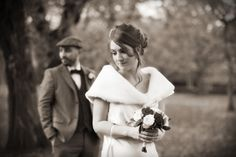 Bride & groom in park - brenda mcguire photography