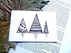 b62a8e2438e Carte illustrée - Carte de Voeux - Carte de Noël - Trois Sapins Bullet  Journal
