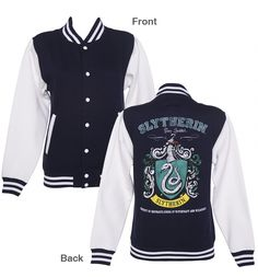 Ladies Navy Harry Potter Slytherin Team Quidditch Varsity Jacket