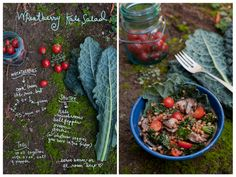 Neat idea for a recipe book layout! By Erin Gleeson. Wheatberry Kale Salad