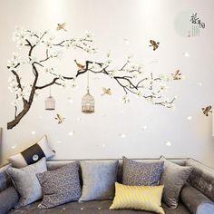 Decoratiune interioara pentru sufragerie sau dormitor, sticker pentru perete cu pomi, flori, pasari si natura