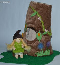 10cm-es baba erdei házikóval