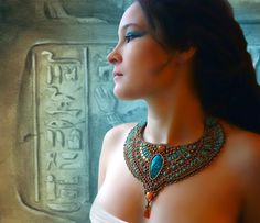 Necklace | Elen Noel. 'Cleopatra'  Beadwork combining chrysocolla and malachite.