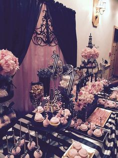 Just how fabulous is this dessert table at Araceli\'s Parisian Quinceañera?! See more party ideas at CatchMyParty.com