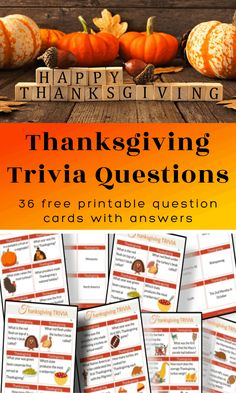 Thanksgiving Trivia Questions - Free Printable Cards