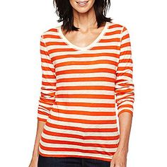 jcp™ Long-Sleeve Scoop-Neck Tee - jcpenney