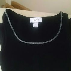 SALELOFT tank top NWOT Scoop neck Fine rib Soft fabric 100% cotton One loose bead, easy fix Never worn LOFT Tops Tank Tops