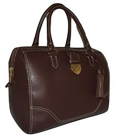 Ralph Lauren Women s Leather Bevington Barrel Satchel Handbag Brown Ralph  Lauren Purses, Ralp Lauren, b0978bed88