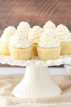 These Moist Vanilla Cupcakes are super easy to make and so moist – for days! They are my new favorite vanilla cupcake! I mentioned a couple weeks ago that I'd be bringing you some Moist Vanilla Cupcakes, Vanilla Cake, Vanilla Cupcake Recipes, Cupcake Recipes Easy, Homemade Vanilla Cupcakes, Vanilla Frosting, Cupcake Ideas, Buttercream Frosting, Mini Cakes