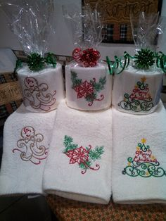 Yes it really is embroidered toilet paper and matching hand towels. What a nice hostess gift for the holidays!