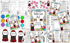This fun, bubble-gum-themed, 48 page unit was created with the intention of a having a Bubble Gum Day with my 4th grade students, but you can easily adapt it for your needs! It includes an informational reading passage about gum with questions, a grammar sorting activity, a geometry game board, a class and independent graphing activity, and writing piece lesson ideas and publishing papers and ideas. Answer keys are included.