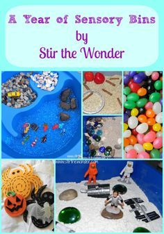 A Year of Sensory Bins - Stir The Wonder (love that name/phrase - Stir the Wonder!) I also love how relevant books are displayed with the sensory bins...e.g., Bug Bin with a non-fiction book on insects