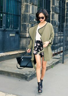 a fresh mix of army green + floral + black.