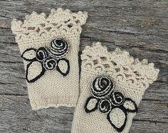 A maglia guanti senza dita, avorio, Rose, guanti e muffole, idee regalo, per i suoi accessori, accessori invernali,