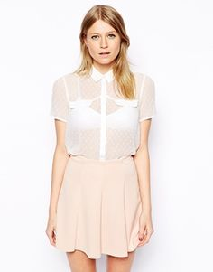 Enlarge ASOS Short Sleeve Blouse in Dobby Spot