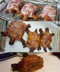 turtle burgers :o) NOT REAL TURTLES Hamburger in the middle with hot dogs for arms legs head and tail place cheese on burger basket weave bacon around the whole thing and cook em up. Clip hot dogs to make claws and face