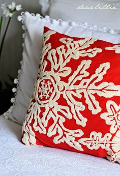 Red Snowflake Pillow from A Little Red in our Guest Room by Dear Lillie